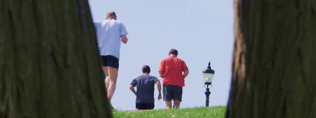 Runners on Primrose Hill from London Stock Footage