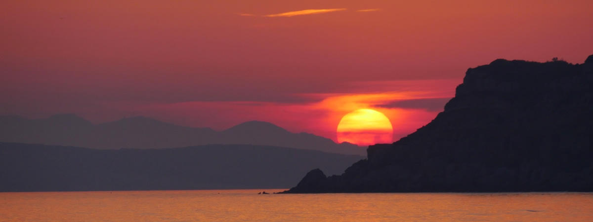 Beautiful sunset at Arillas in Corfu